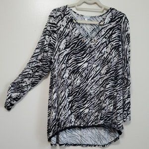 Women's Plus Zebra Print Criss Cross Neck Jersey B